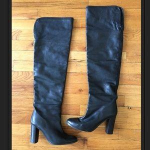 Zara Thigh high black leather boots